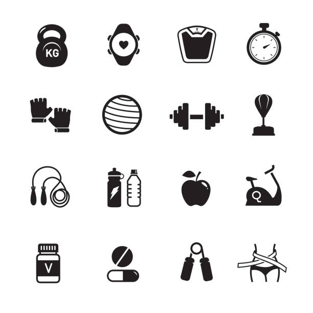 Fitness health icons Fitness health icons, Set of 16 editable filled, Simple clearly defined shapes in one color. exercise machine stock illustrations