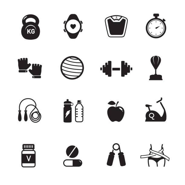 stockillustraties, clipart, cartoons en iconen met fitness gezondheid iconen - gym
