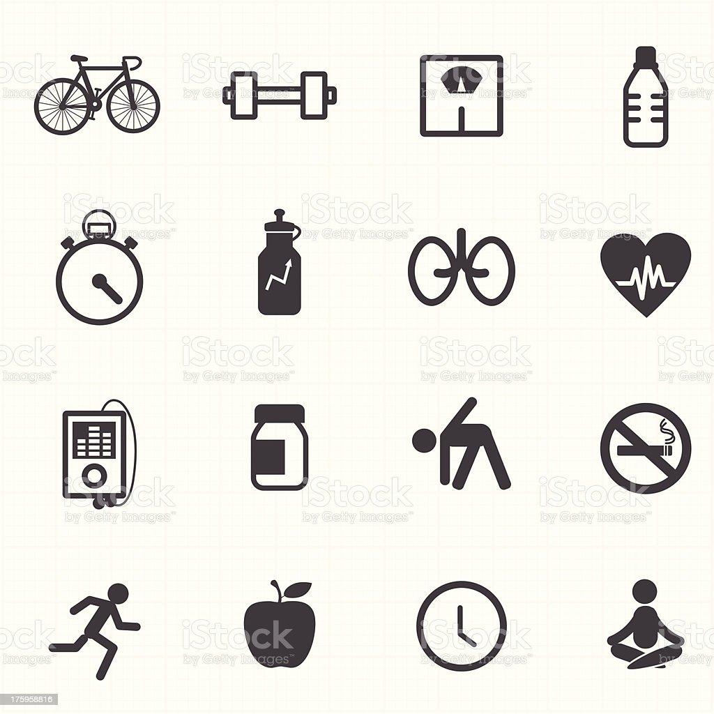 Conjunto de ícones de ginástica e saúde - ilustração de arte em vetor
