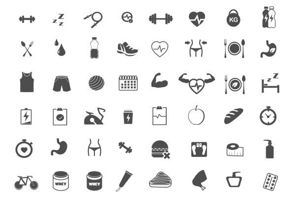 fitness gesunde pflege und übung icons set vektor-illustration - stoffwechsel stock-grafiken, -clipart, -cartoons und -symbole
