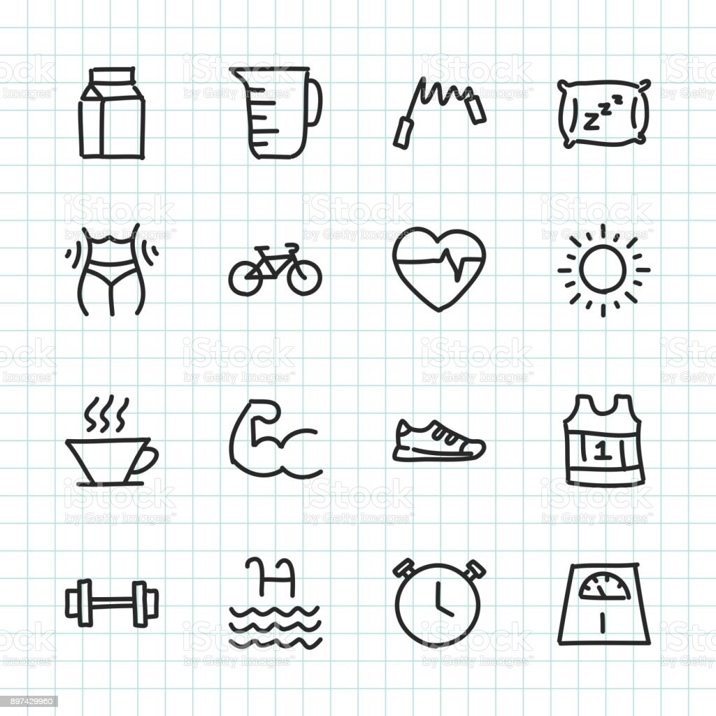 Fitness & Healthy Life - Hand Drawn Series royalty-free stock vector art