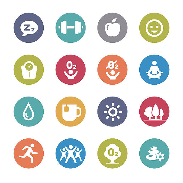 fitness, gesundes leben-symbole-kreis serie - sauerstoff stock-grafiken, -clipart, -cartoons und -symbole