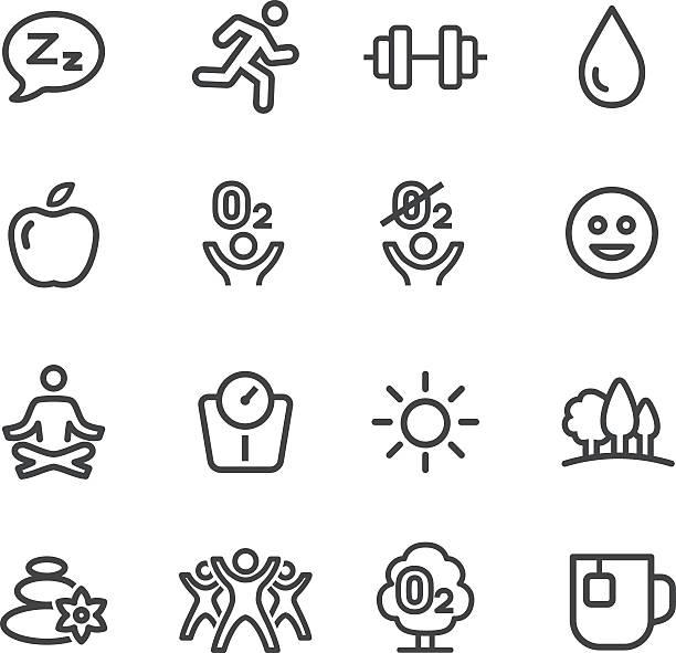 fitness und gesundes leben-symbole-line serie - sauerstoff stock-grafiken, -clipart, -cartoons und -symbole