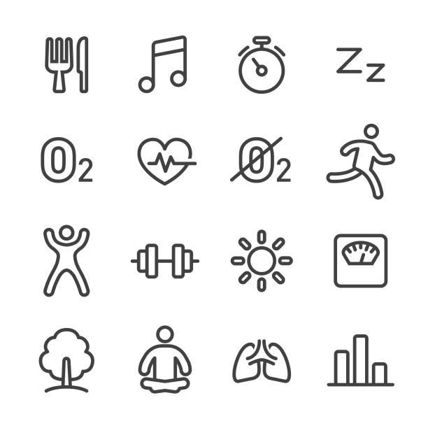 fitness, gesunde lebensweise icons set - line serie - sauerstoff stock-grafiken, -clipart, -cartoons und -symbole