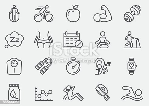 Fitness Healthy Line Icons