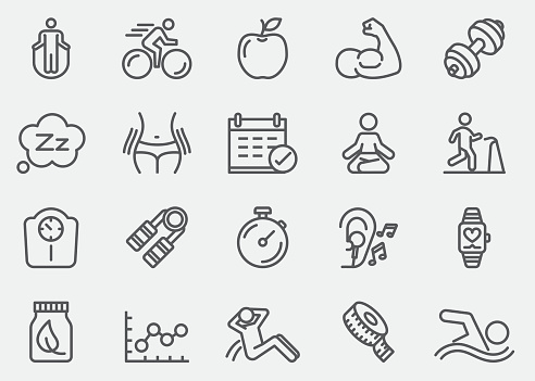 Fitness Healthy Line Icons   EPS 10