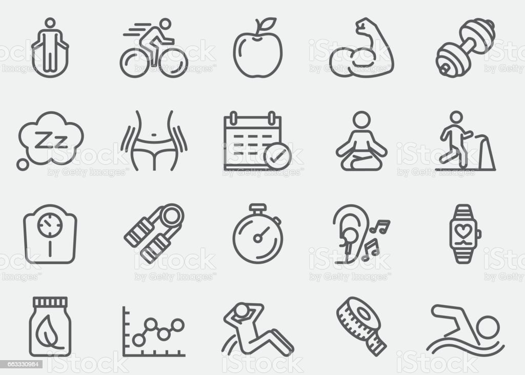 Fitness Healthy Line Icons | EPS 10 vector art illustration