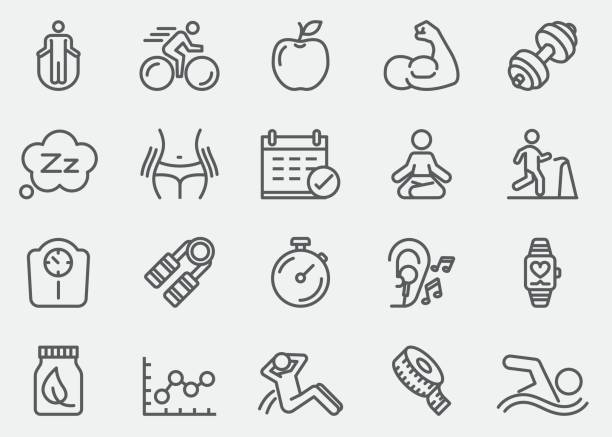 fitness healthy line icons | eps 10 - talia tułów stock illustrations
