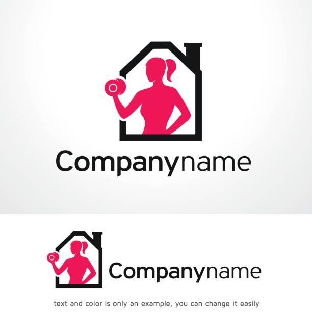 ilustrações, clipart, desenhos animados e ícones de home fitness símbolo modelo projeto vector, emblema, conceito, símbolo criativo, ícone de design - personal trainer