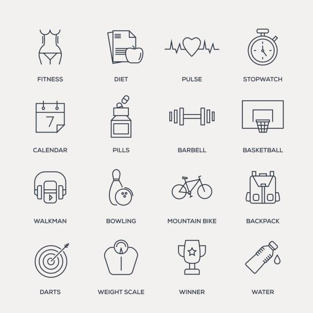 fitness icon set - line series - workout calendar stock illustrations, clip art, cartoons, & icons