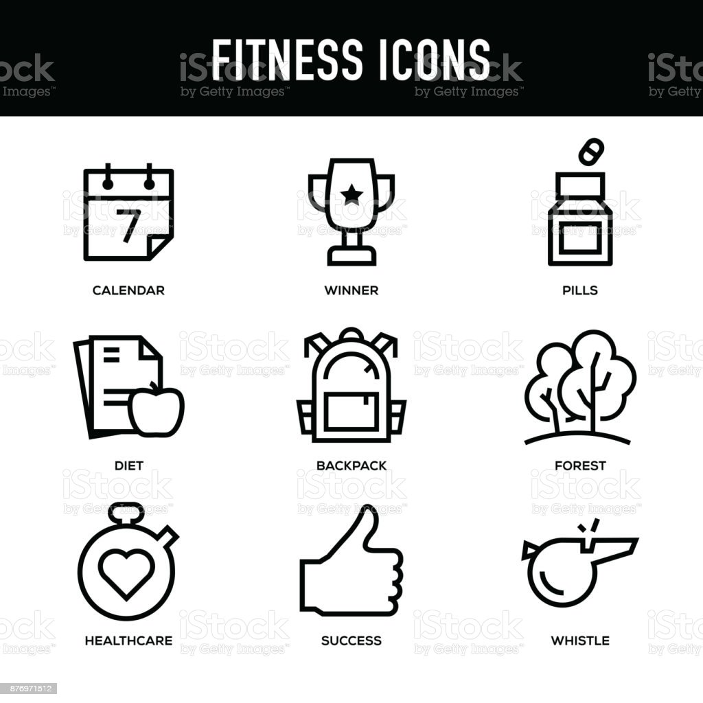 Conjunto de iconos de fitness - serie de la línea gruesa - ilustración de arte vectorial