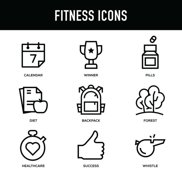 fitness icon set - thick line series - workout calendar stock illustrations, clip art, cartoons, & icons