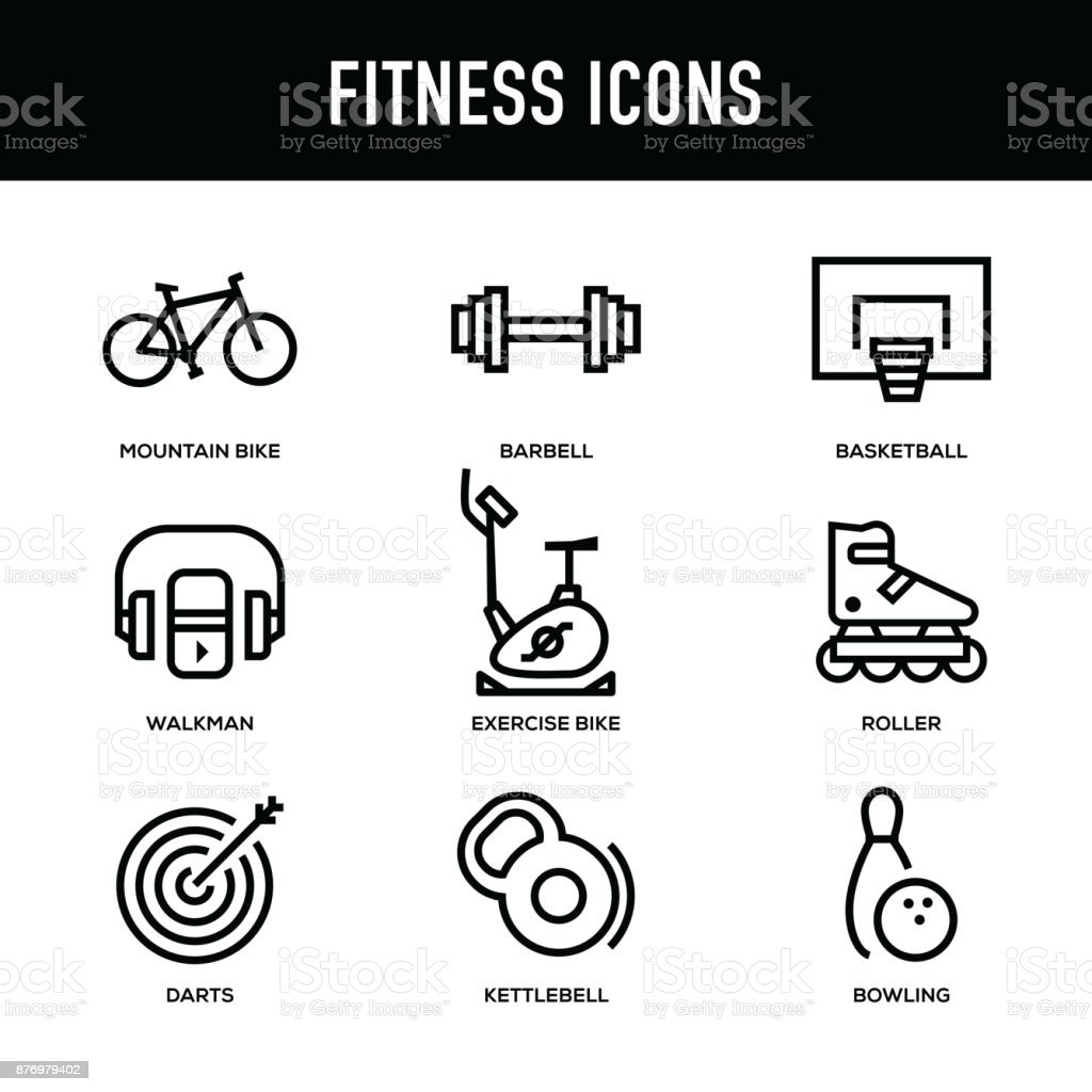 Fitness Icon Set - Thick Line Series vector art illustration