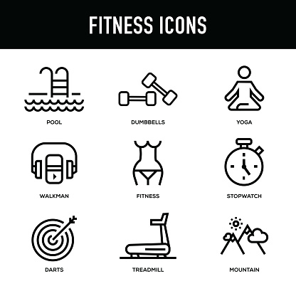 Fitness Icon Set - Thick Line Series