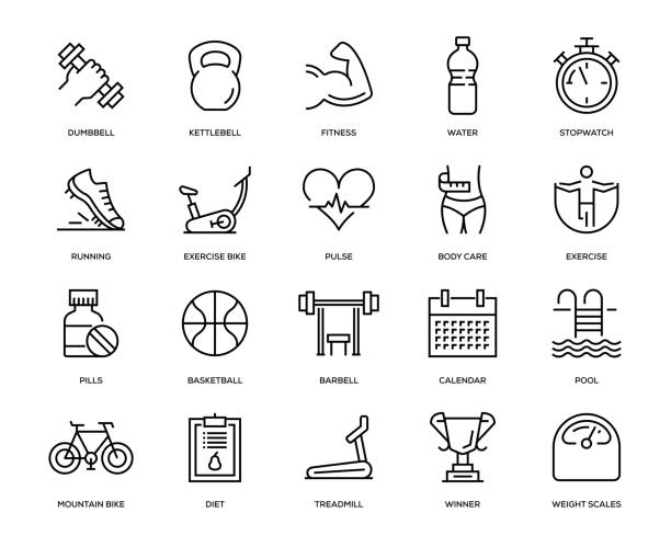 Fitness Icon Set Fitness Icon Set - Thin Line Series exercise machine stock illustrations