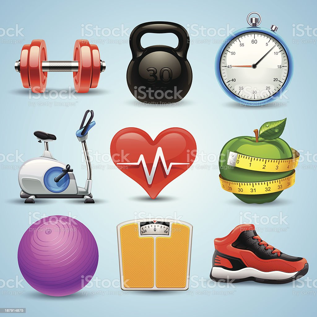 fitness icon set vector art illustration