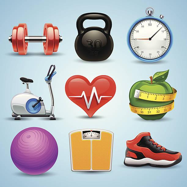 fitness-icon-set - schuhe für sport und freizeit stock-grafiken, -clipart, -cartoons und -symbole