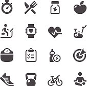 Set of fitness simple vector icons. Easy resize.