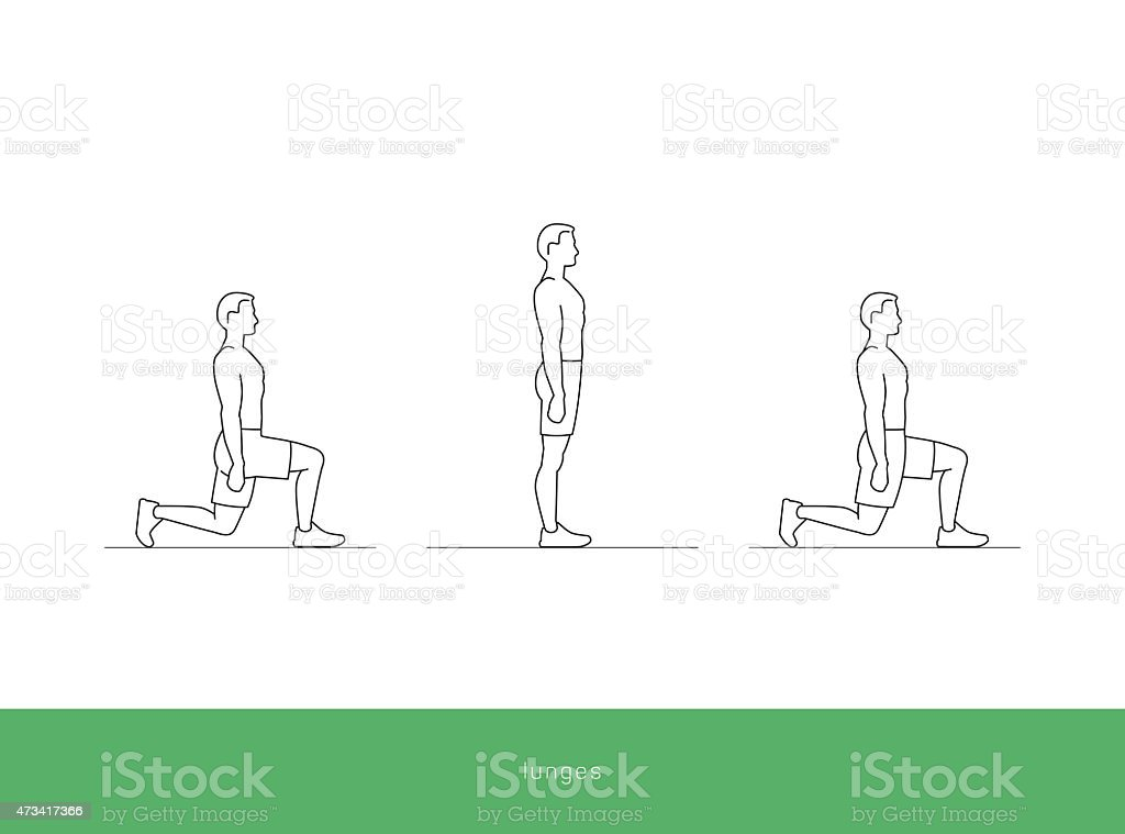 Fitness Icon Workout - lunges vector art illustration