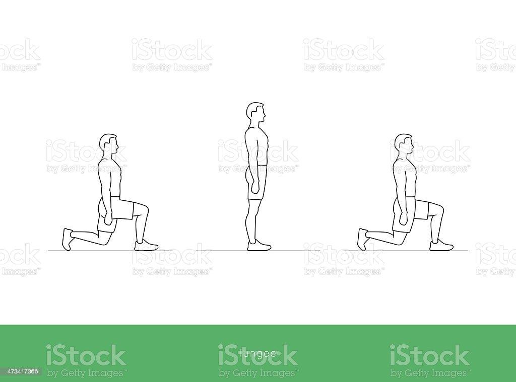 Fitness Workout Symbol-lunges – Vektorgrafik