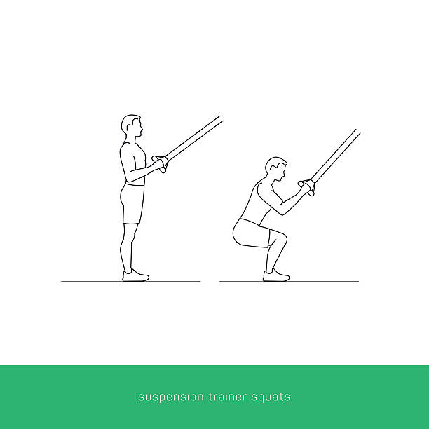 stockillustraties, clipart, cartoons en iconen met fitness icon workout - suspension trainer squats - buigen lichaamsbeweging