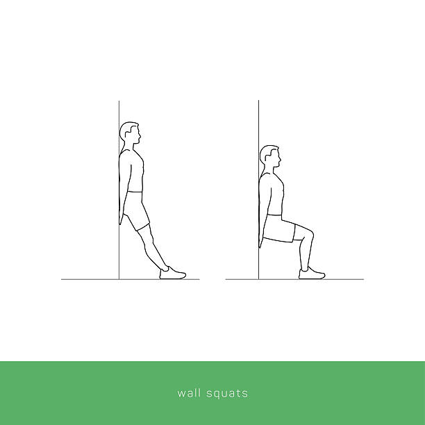 Fitness Icon Workout - wall squats vector art illustration