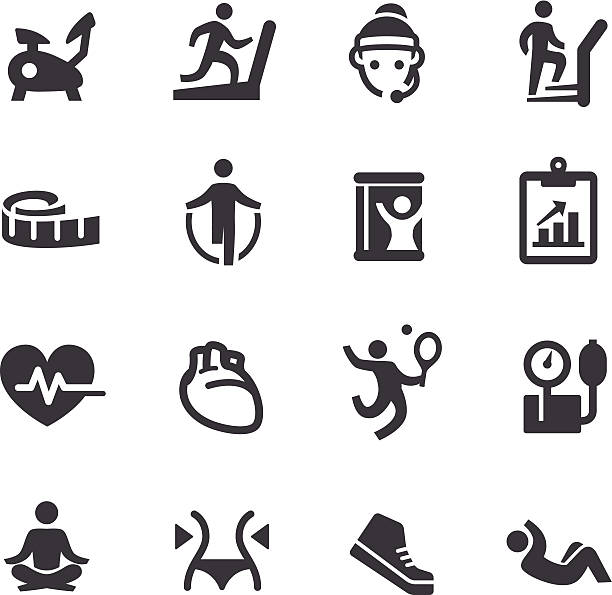 fitness icons - acme series - personal trainer stock illustrations, clip art, cartoons, & icons