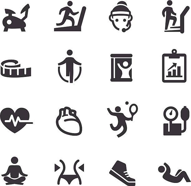 ilustrações, clipart, desenhos animados e ícones de ícones-a acme série de ginástica - personal trainer