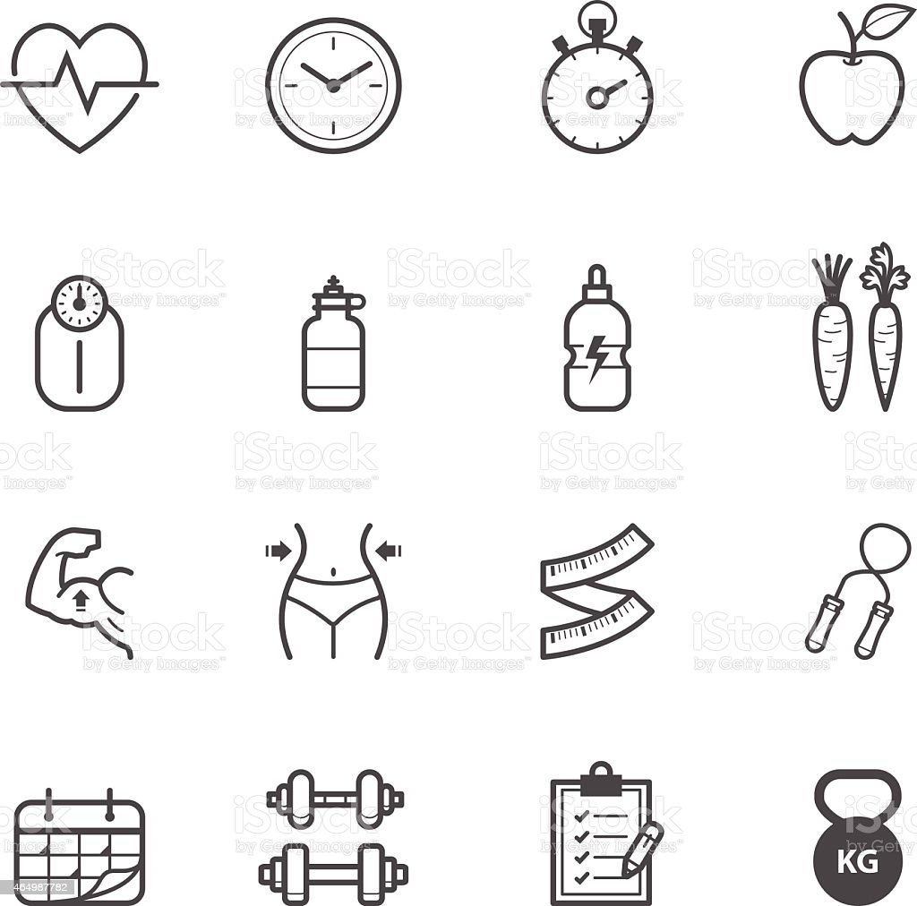 Fitness Icons and Health Icons vector art illustration