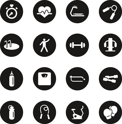 Fitness Icons - Black Circle Series