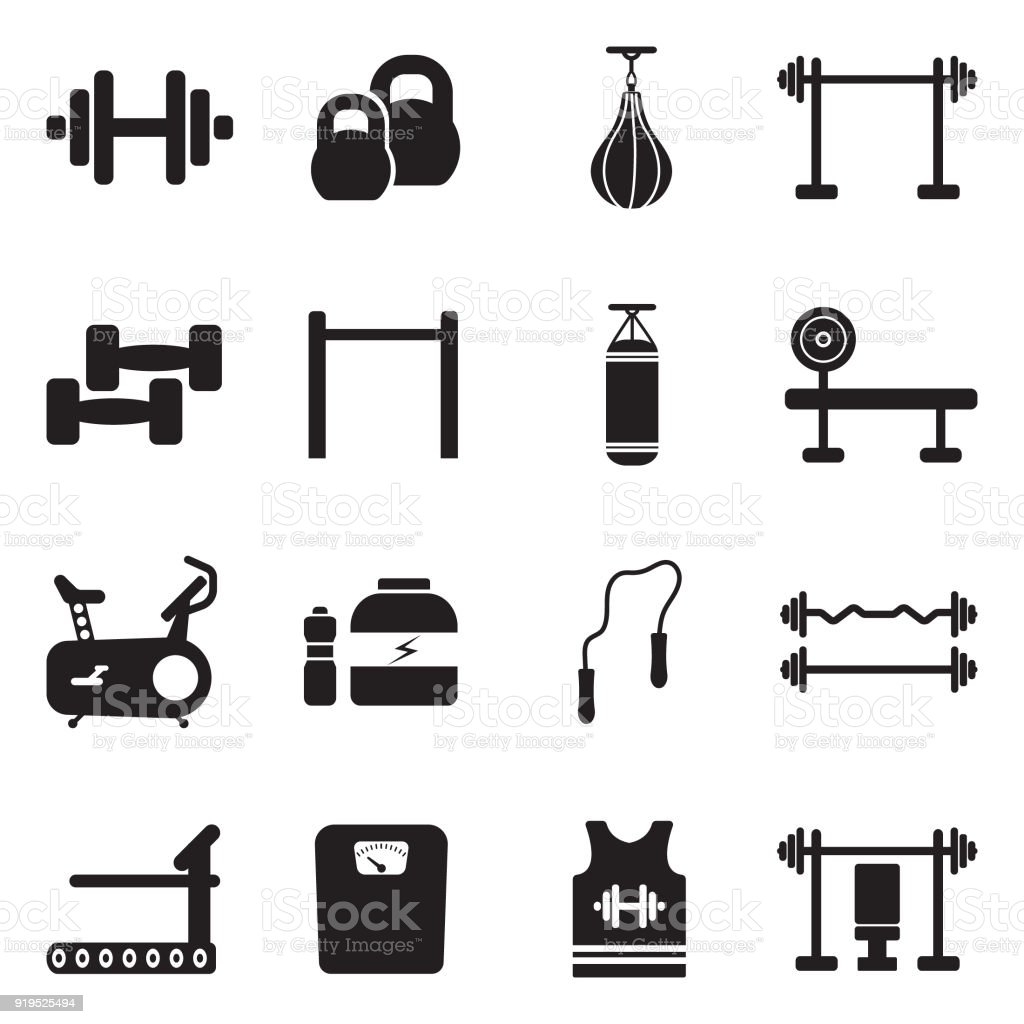 Fitness Icons. Black Flat Design. Vector Illustration.