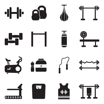 Fitness Icons. Black Flat Design. Vector Illustration. clipart