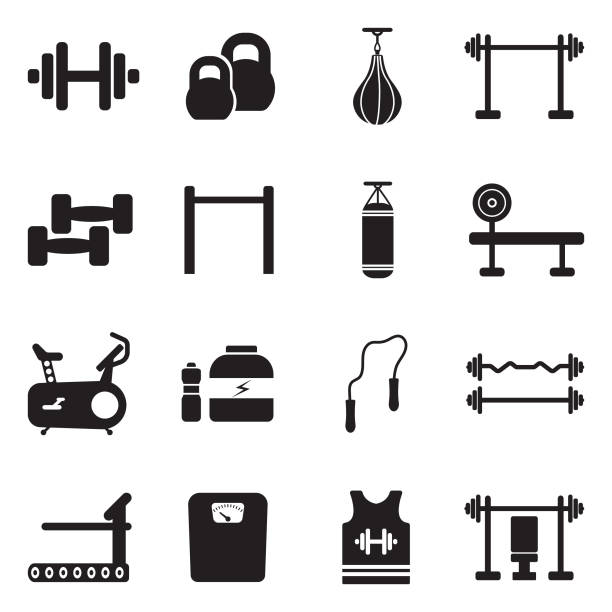 fitness icons. black flat design. vector illustration. - waga opis fizyczny stock illustrations