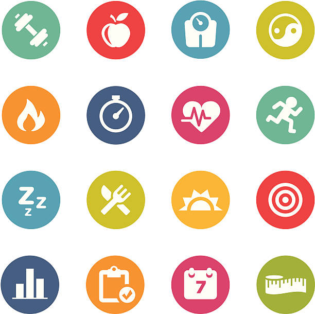 fitness icons | circle series - workout calendar stock illustrations, clip art, cartoons, & icons