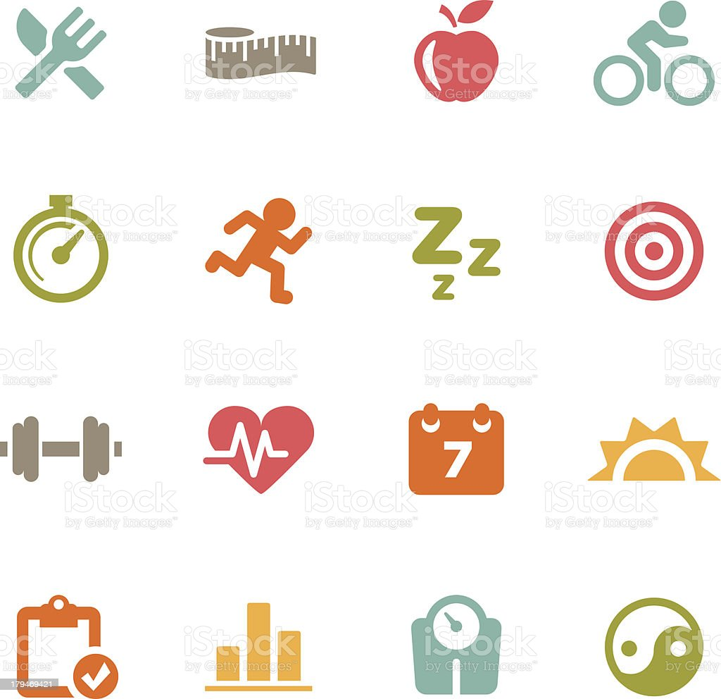 Fitness Icons | Flat Series royalty-free fitness icons flat series stock vector art & more images of apple - fruit