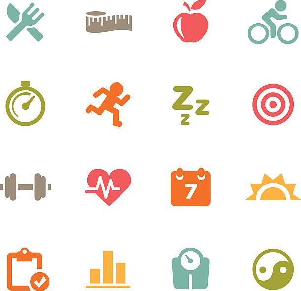 bildbanksillustrationer, clip art samt tecknat material och ikoner med fitness icons | flat series - calendar workout