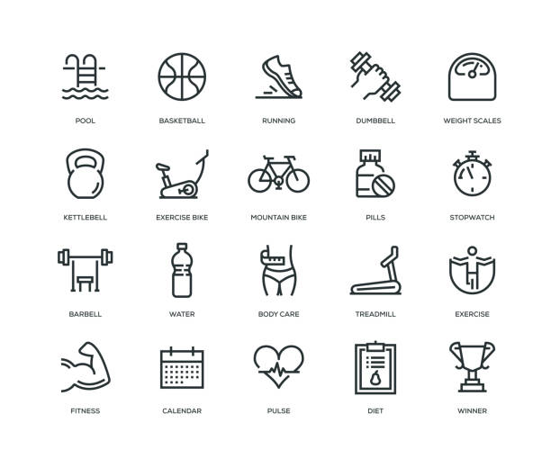 Fitness Icons - Line Series Fitness Icons - Line Series medical technical equipment stock illustrations