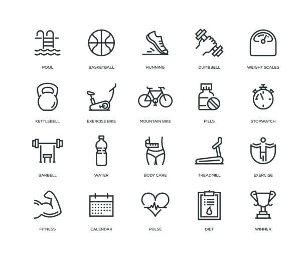 bildbanksillustrationer, clip art samt tecknat material och ikoner med fitness ikoner - line serien - calendar workout