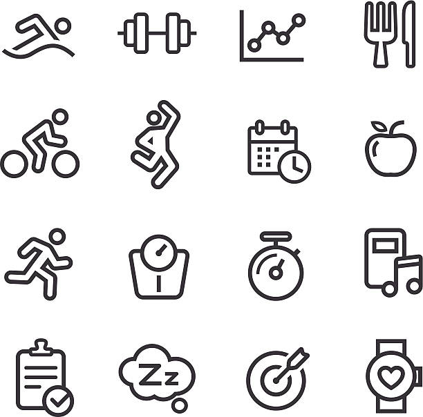 fitness icons - line series - workout calendar stock illustrations, clip art, cartoons, & icons