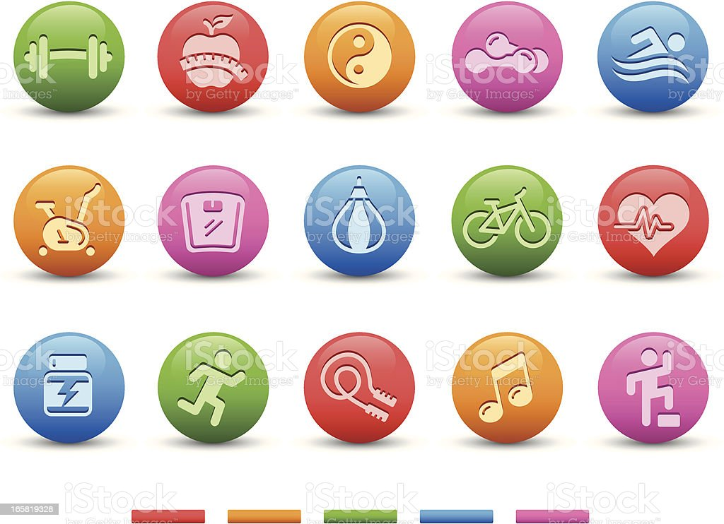 Fitness Icons   Satin Series vector art illustration