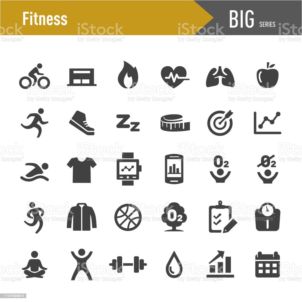 Fitness icons set-grote series - Royalty-free Achtergrond - Thema vectorkunst
