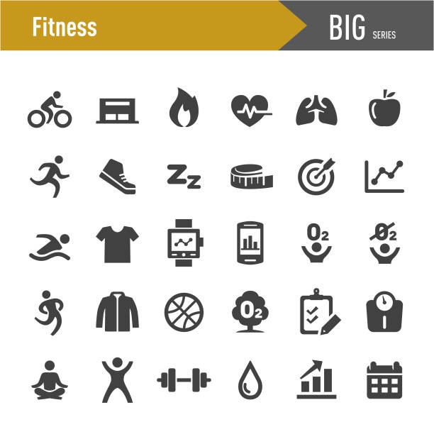 fitness icons set - big series - wellness stock illustrations