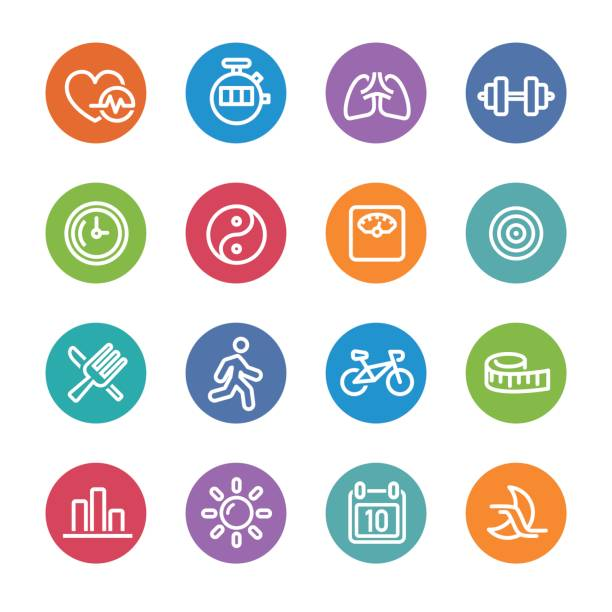 fitness icons set - circle line series - workout calendar stock illustrations, clip art, cartoons, & icons