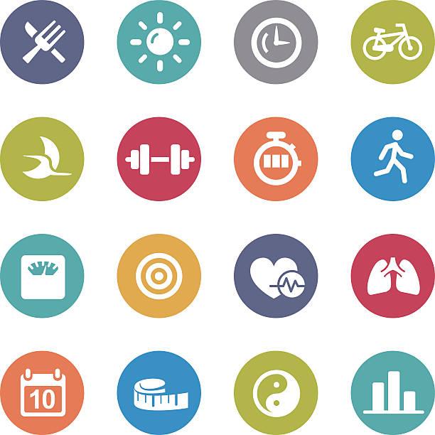 fitness icons set - circle series - workout calendar stock illustrations, clip art, cartoons, & icons