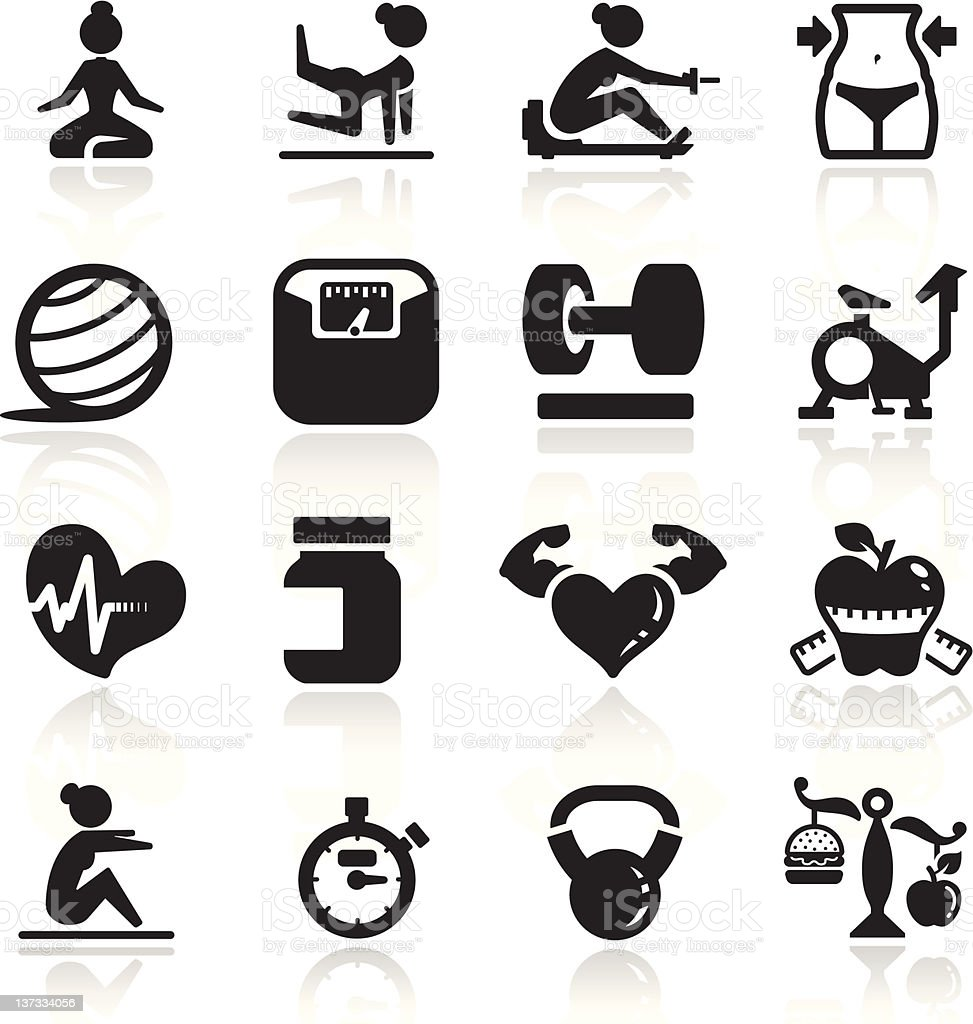 Fitness Icons set elegant series royalty-free stock vector art