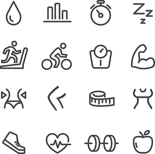fitness ikony ustaw-line serii - ludzka noga stock illustrations