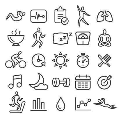 Fitness Icons Set - Smart Line Series
