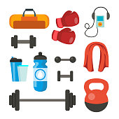 Fitness Icons Set Vector. Sport Tools Accessories. Bag, Towel, Weights, Dumbbell, Bar, Player Boxing Gloves Isolated Cartoon Illustration