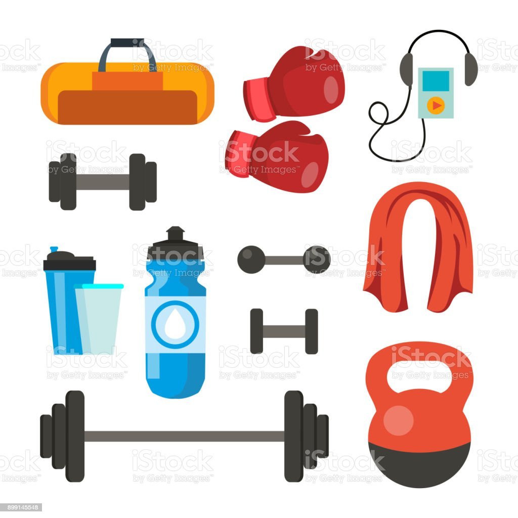 Fitness Icons Set Vector. Sport Tools Accessories. Bag, Towel, Weights, Dumbbell, Bar, Player, Boxing Gloves. Isolated Flat Cartoon Illustration vector art illustration