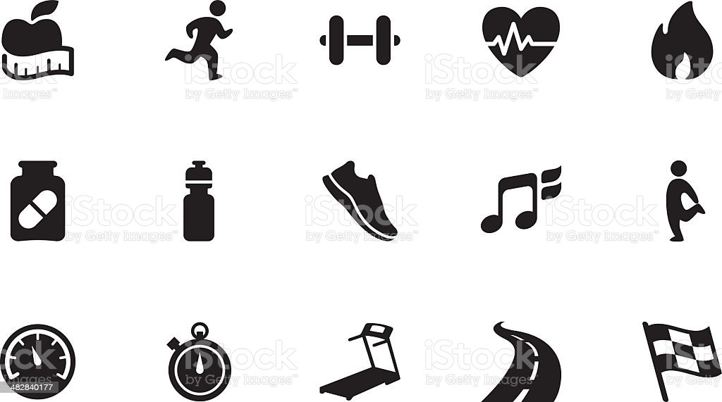Fitness icons . Simple black royalty-free stock vector art